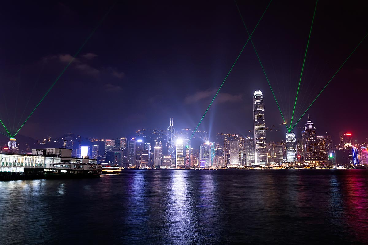 "40 building participate in the ""Symphony of Lights"" laser show in Hong Kong every day at 8.00pm."