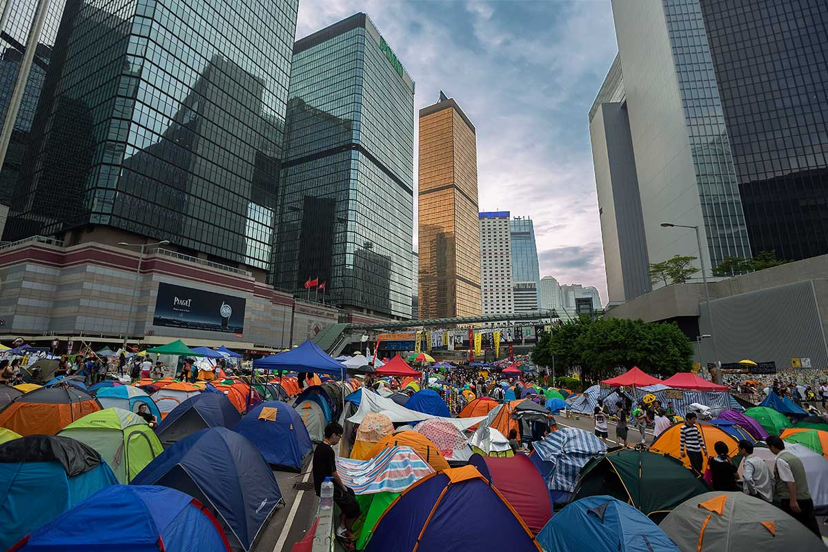 A large encampment of Umbrella Movement protesters in Hong Kong's Admiralty district, home to the city's main government offices.