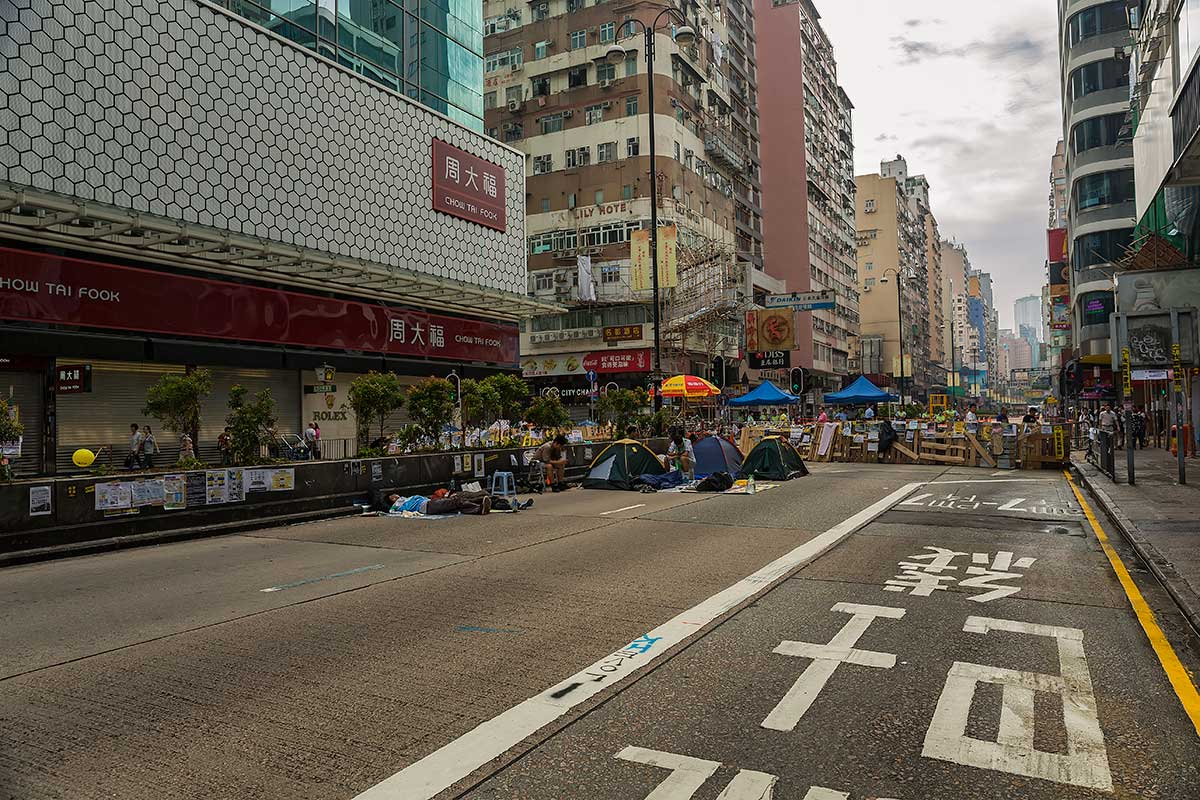 Nathan Road in Mong Kok has become home to the protesters of the Umbrella Movement.
