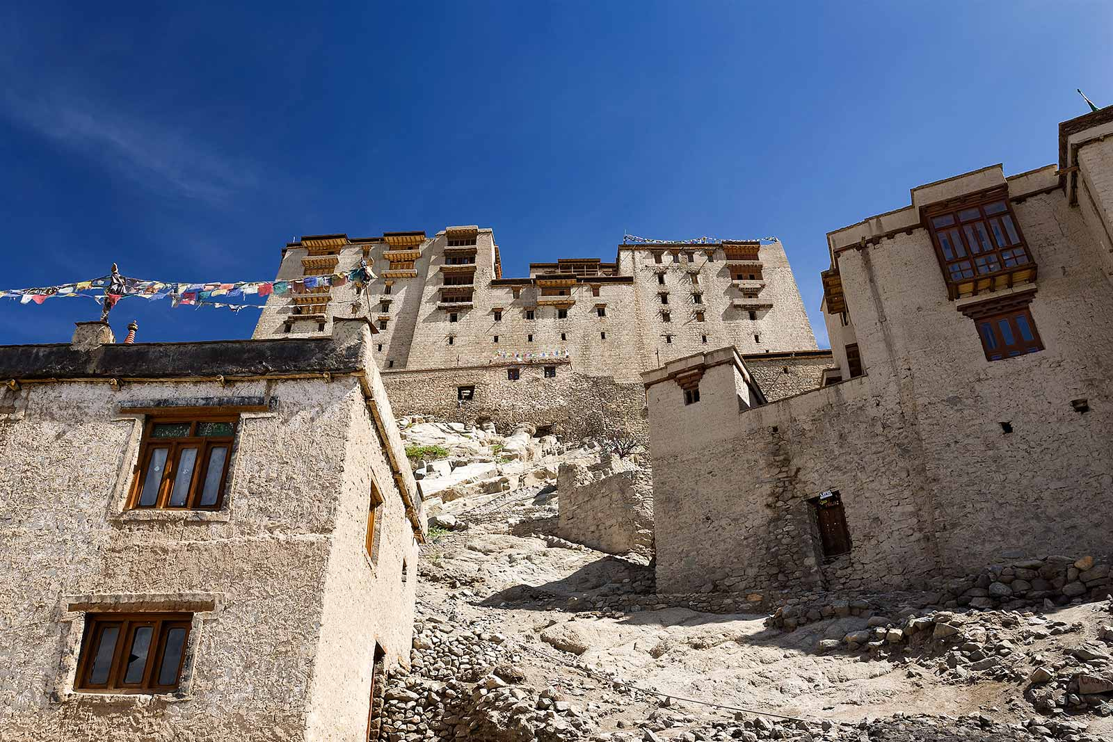 Leh Palace is the city's dominant structure and architectural icon.