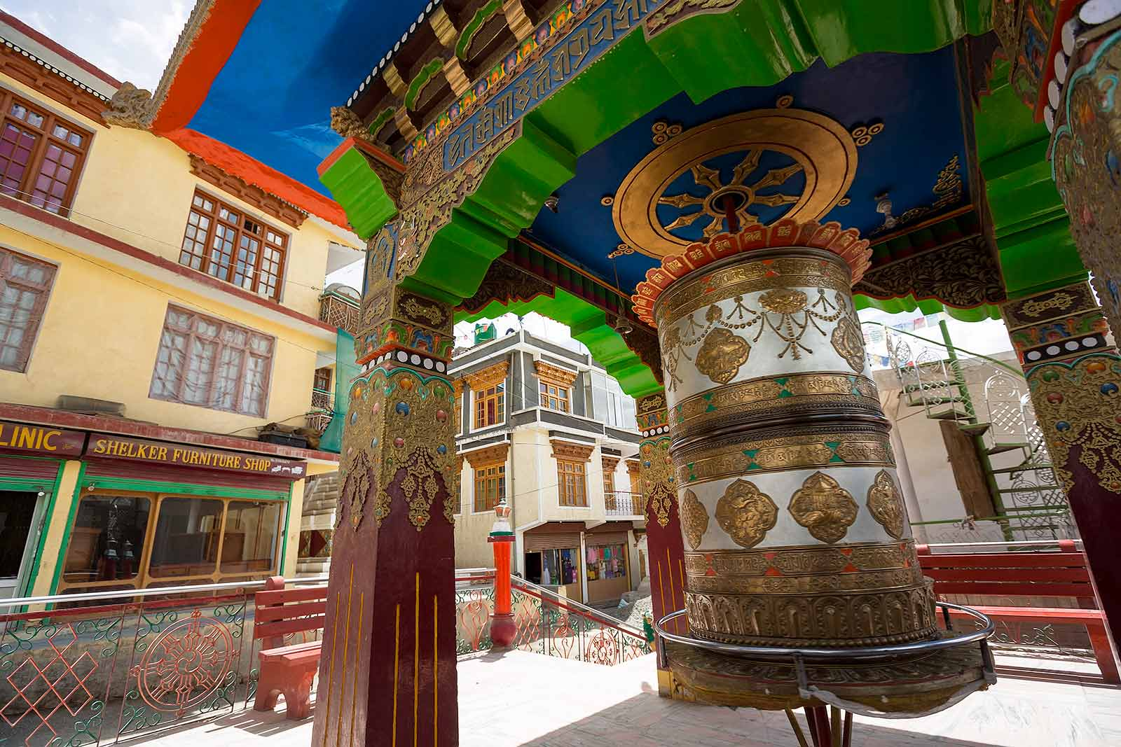 Prayer wheels can be found across Leh. For us, they radiate peace and calmness, especially when in use...