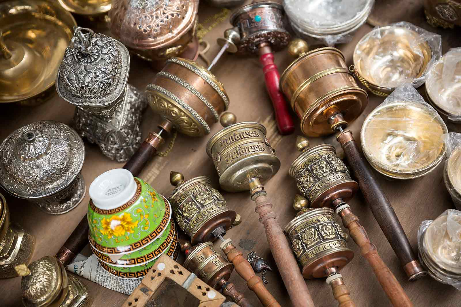 Tibetan handicraft items including prayer wheels, Buddhist masks and paintings can be purchased at the markets in Leh.