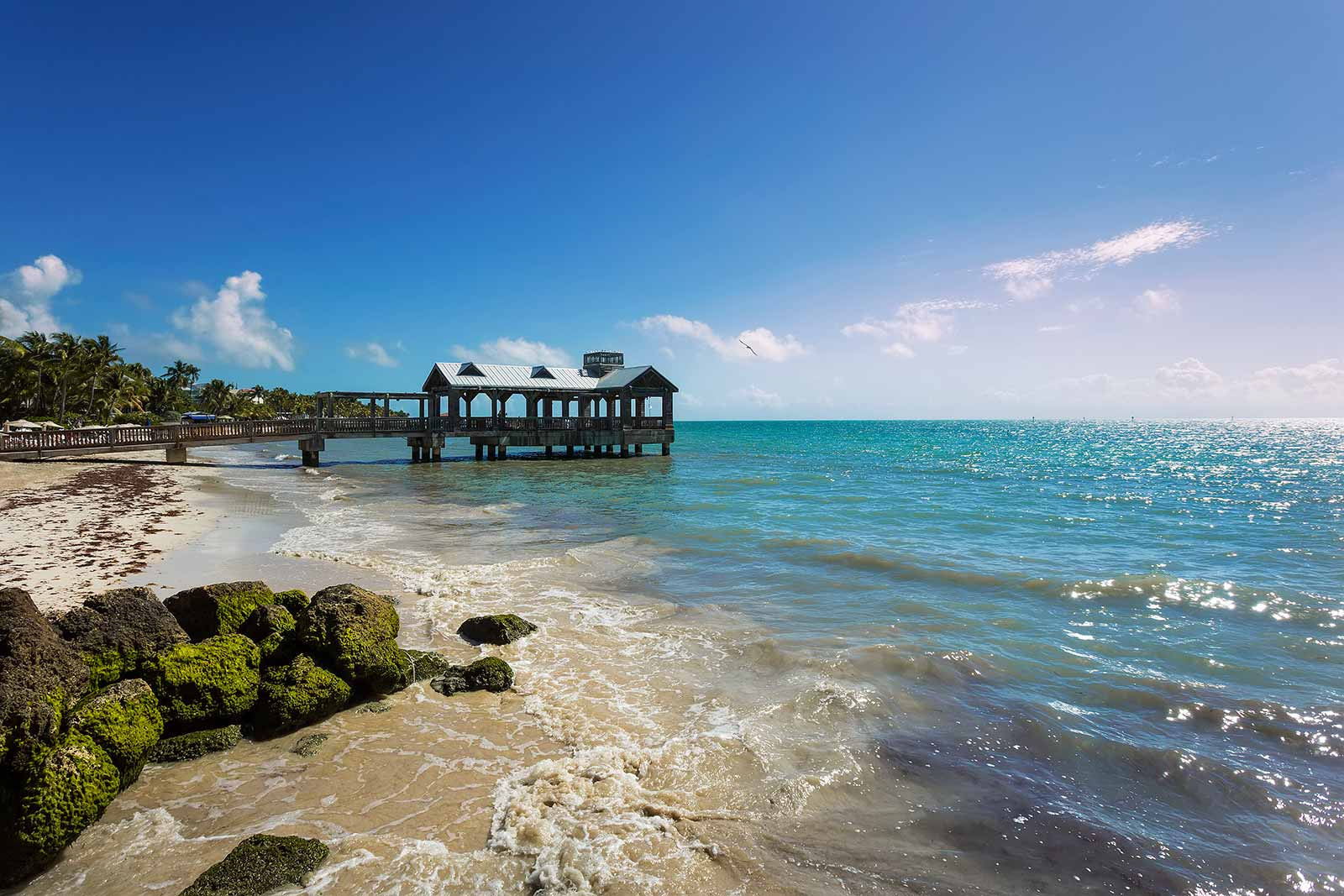 Beautiful beaches are a rare sight in Key West, but you'll come across a couple of nice piers on the contrary.