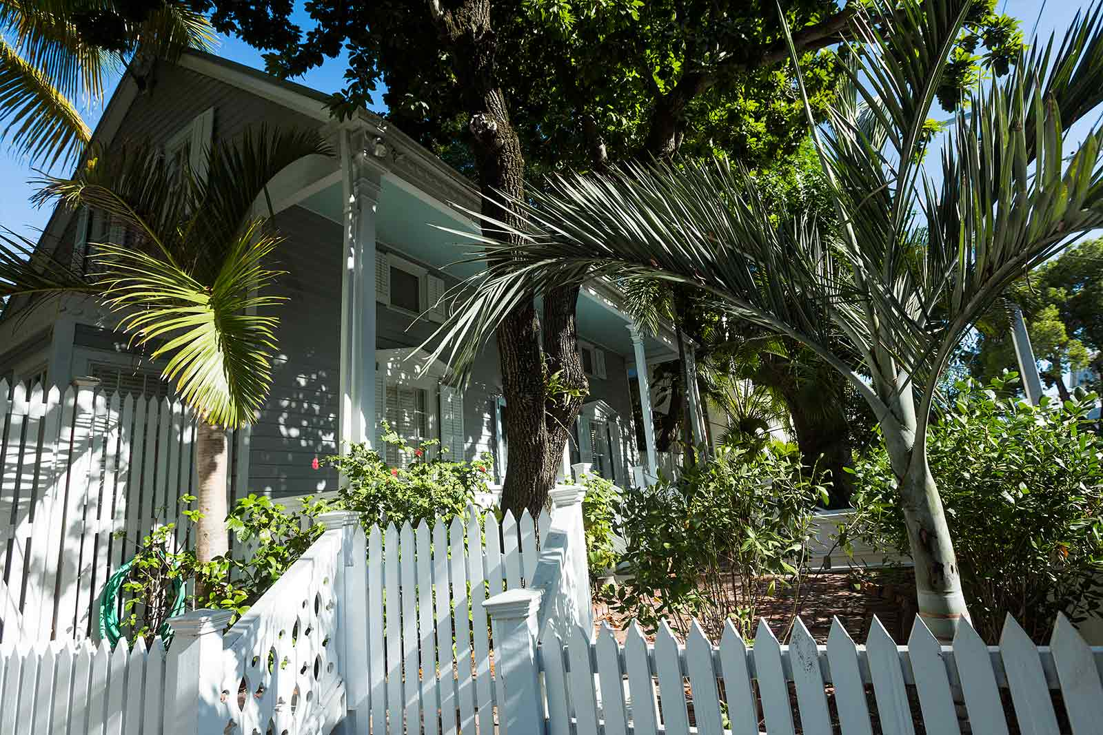 Key West houses are often surrounded by lathe-turned picket fences that wrap around the entire structure. Blooming bushes add a visual pop and fresh contrast to fancifully painted homes.