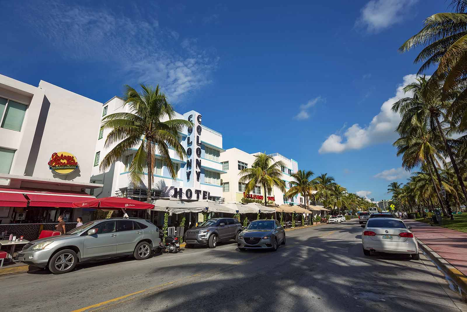 The Colony Hotel is a well known landmark on Ocean Drive in Miami.