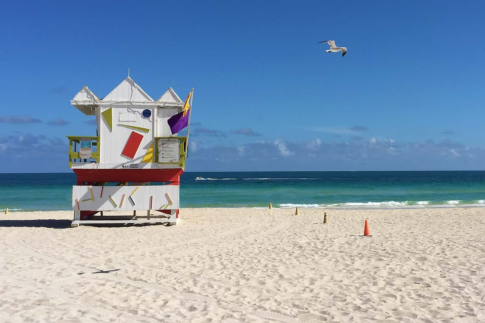 The lifeguard towers along Miami Beach are famous and deserve the attention.