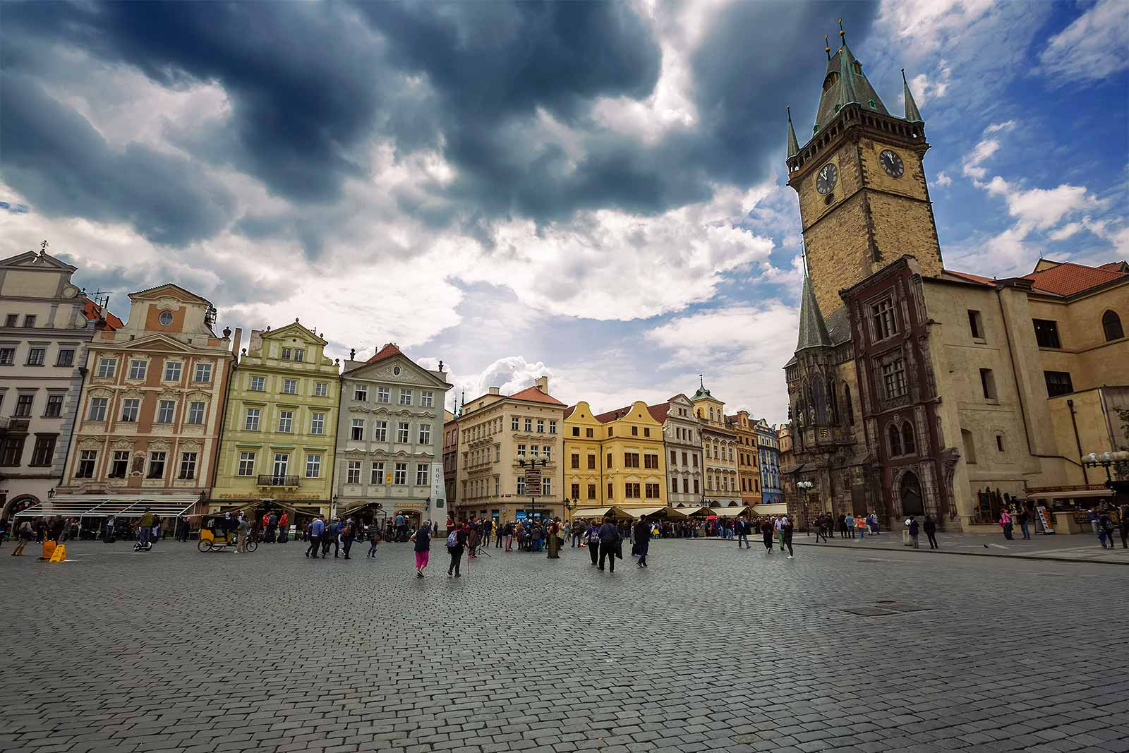 The Old Town Square in Prague is home to some of the most iconic and dramatic buildings of the city.
