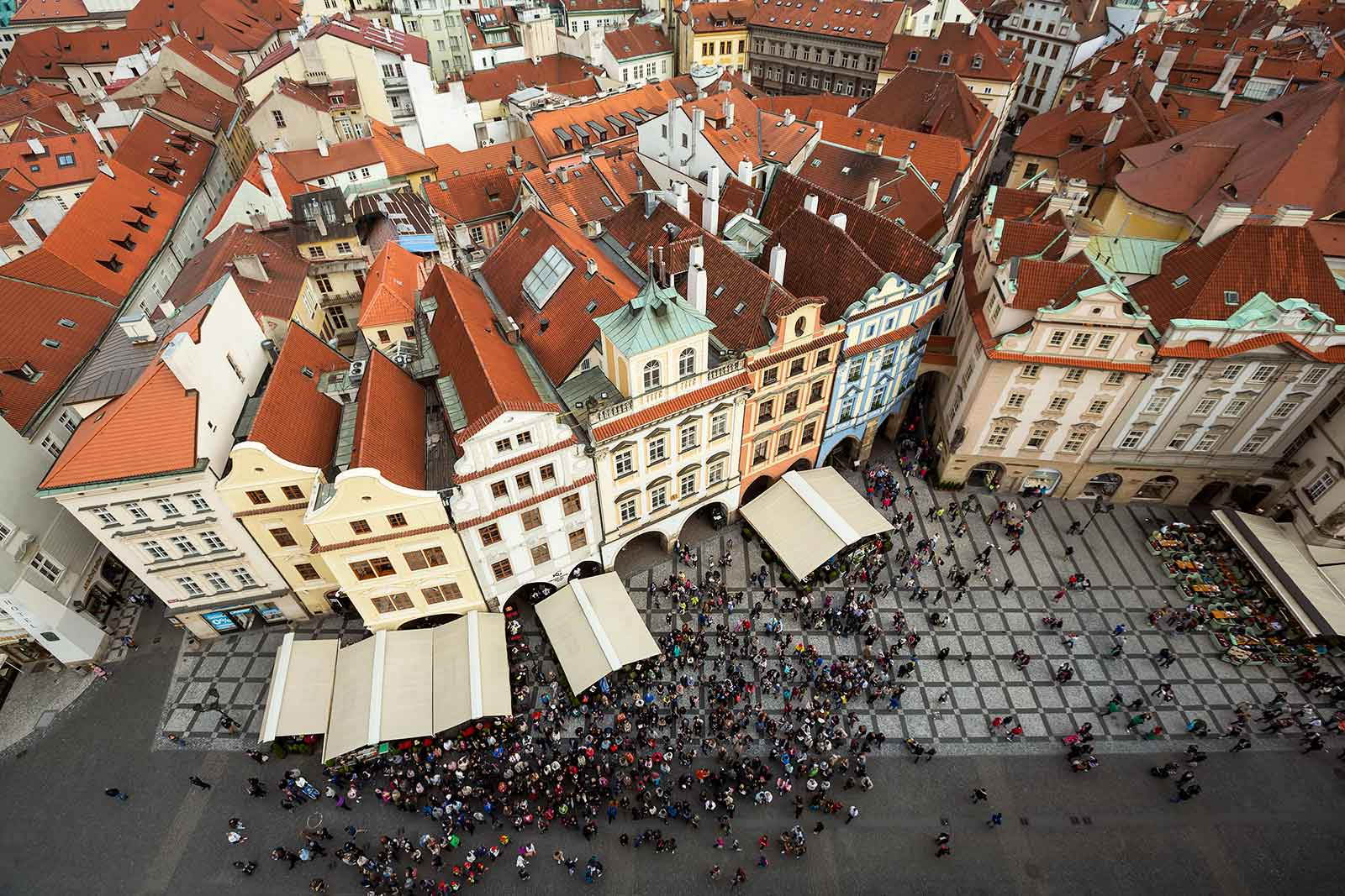 Be sure to climb the Old Town Hall Tower in Prague for a stunning view over the square.