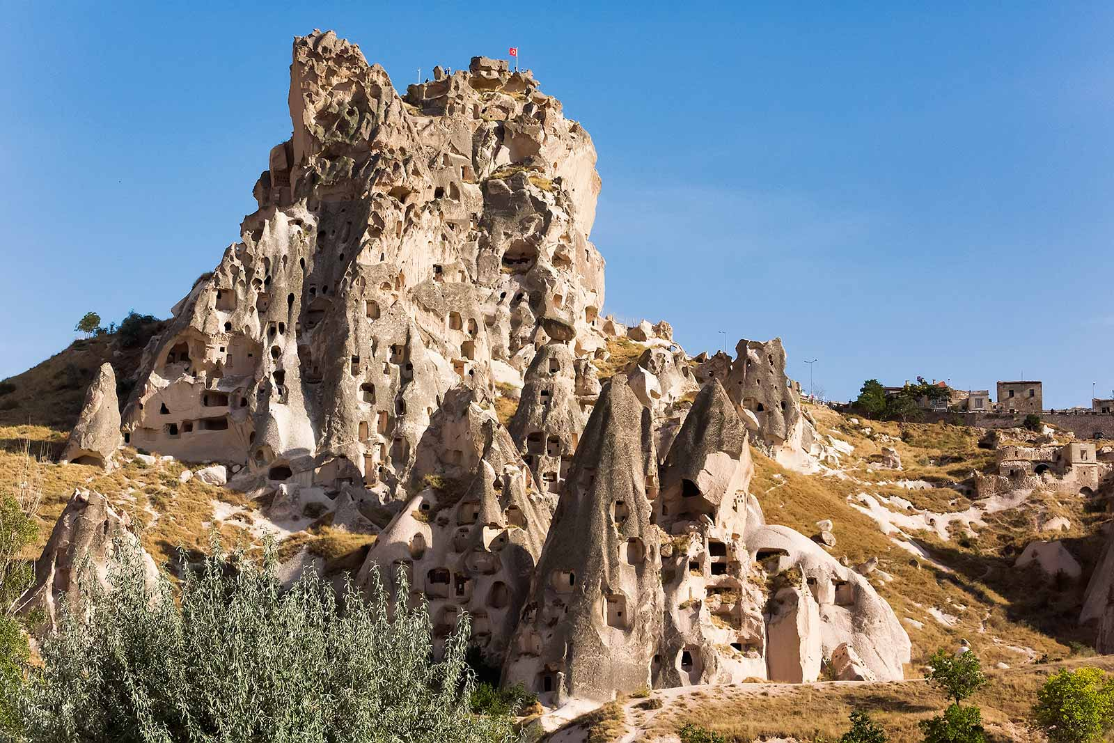 The rock citadel in Ushisar, Cappadocia has many underground rooms and walkways. This, as well as the fantastic view from the hisar are well worth a trip.