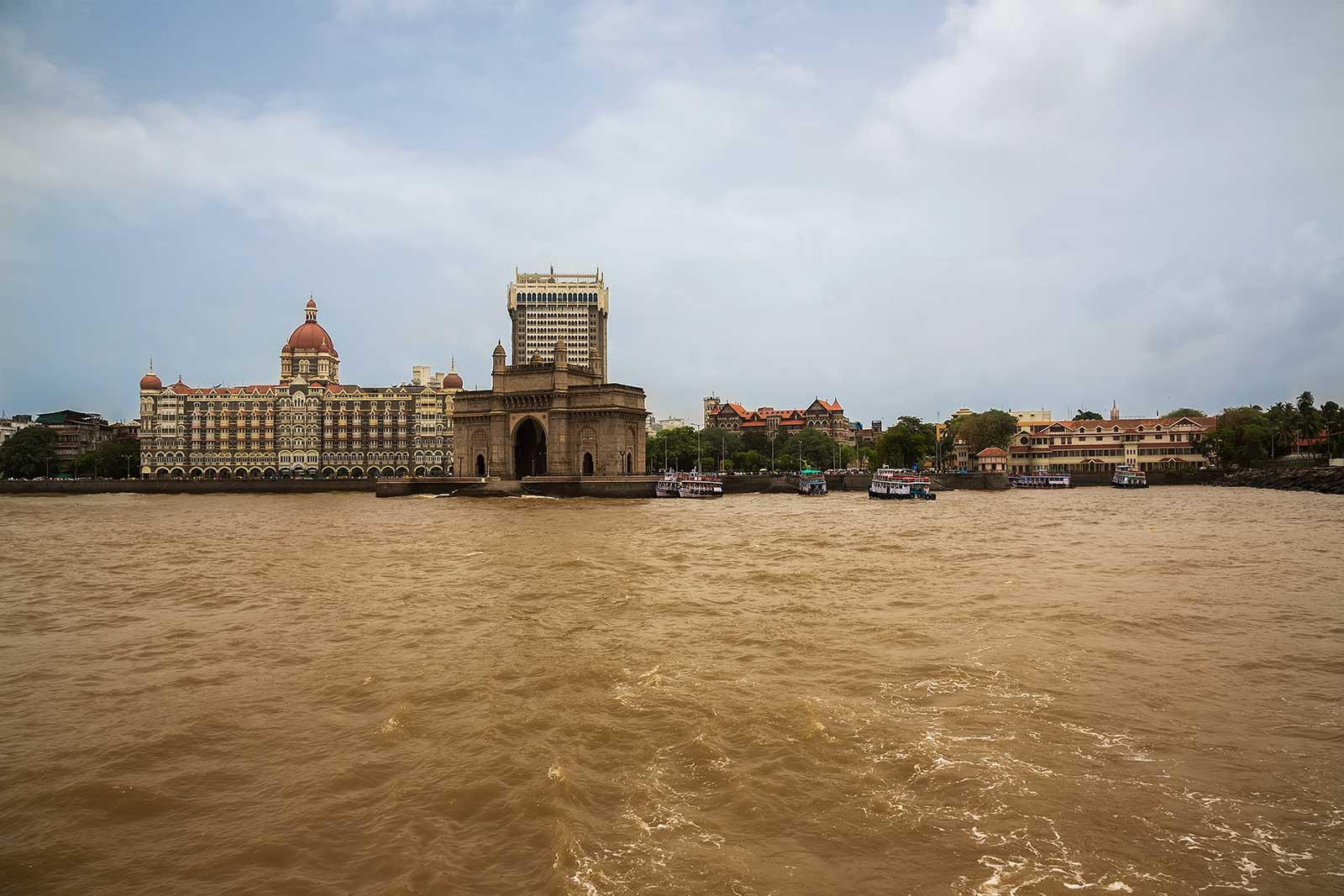 The Gateway of India, as well as the Taj Mahal Palace Hotel are two of the most iconic buildings in Mumbai, visited by thousands of tourists every day.