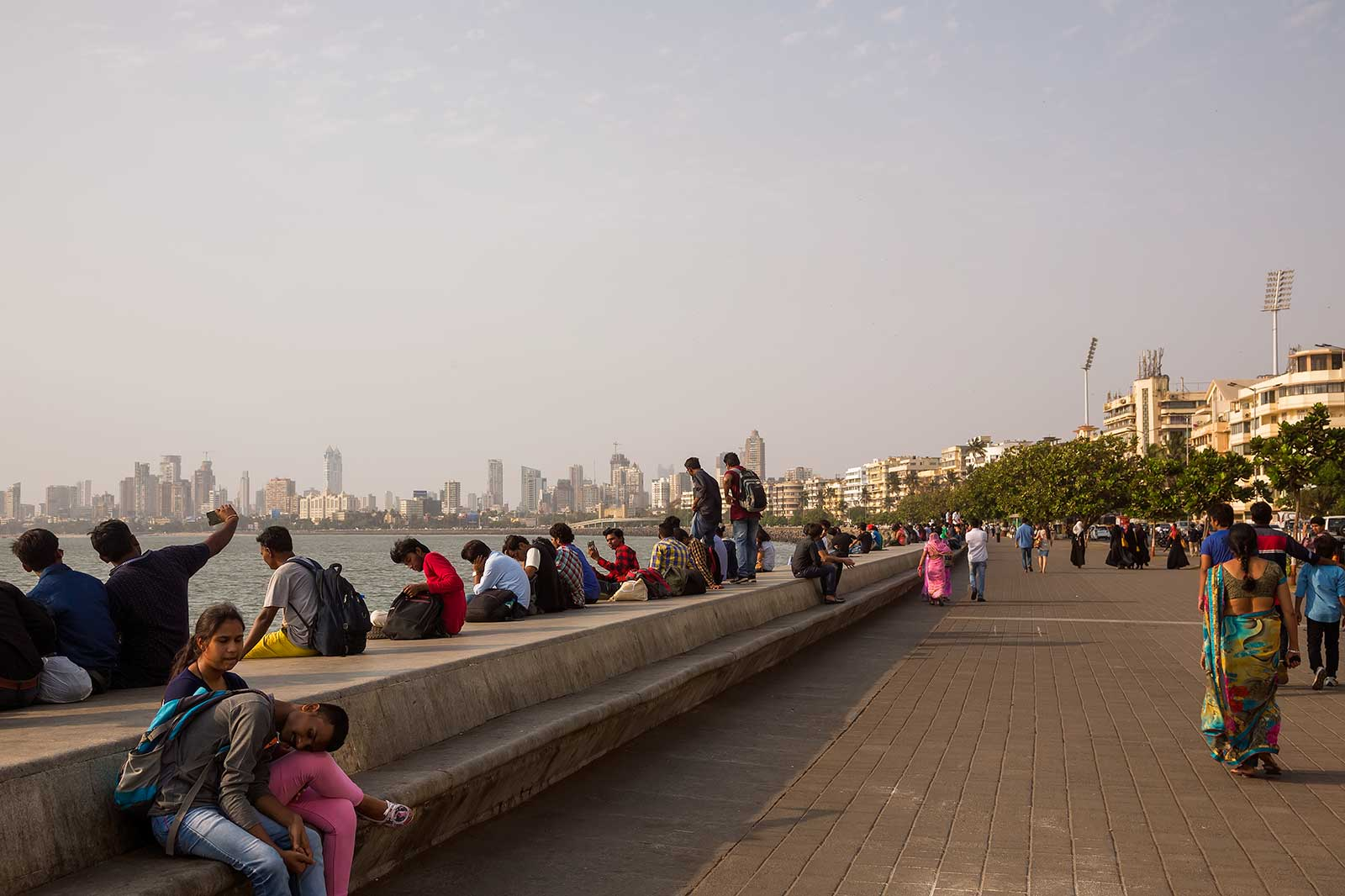 You'll get an amazing view of Mumbai's skyline when walking along Marine Drive.