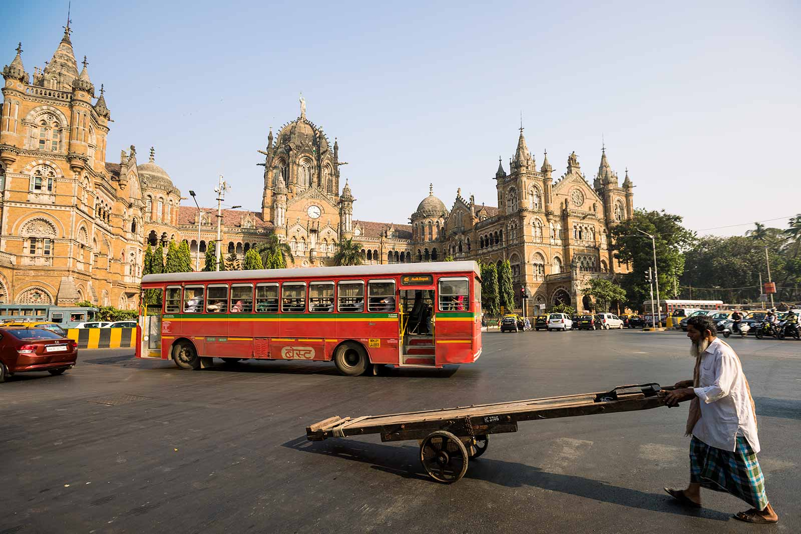 Chhatrapati Shivaji Terminus is an outstanding example of the meeting of two cultures, as British architects worked with Indian craftsmen to include Indian architectural tradition.