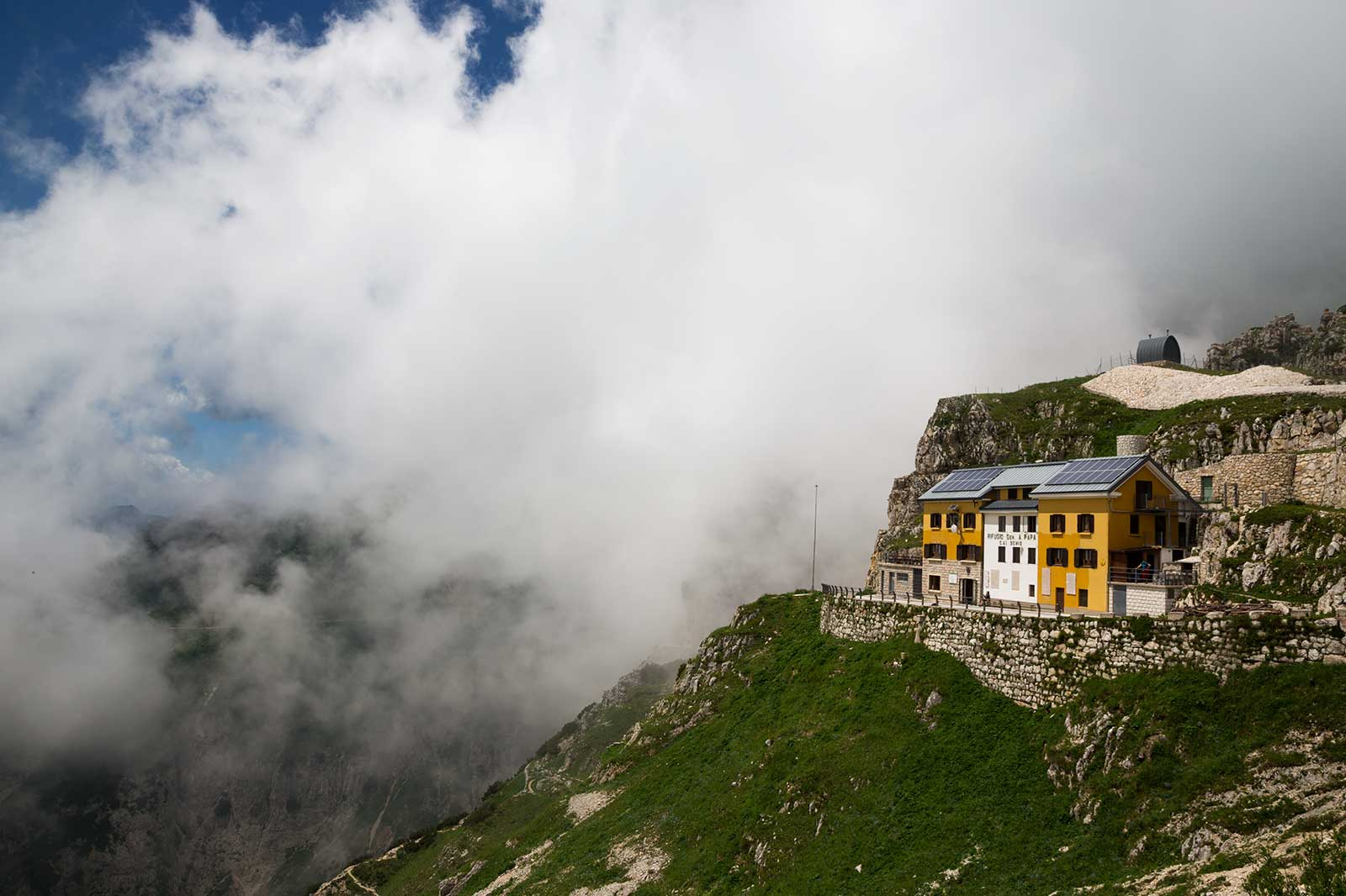 Rifugio Achille Papa is located right at the end of Strada delle 52 Gallerie and a perfect spot for a nice lunch.
