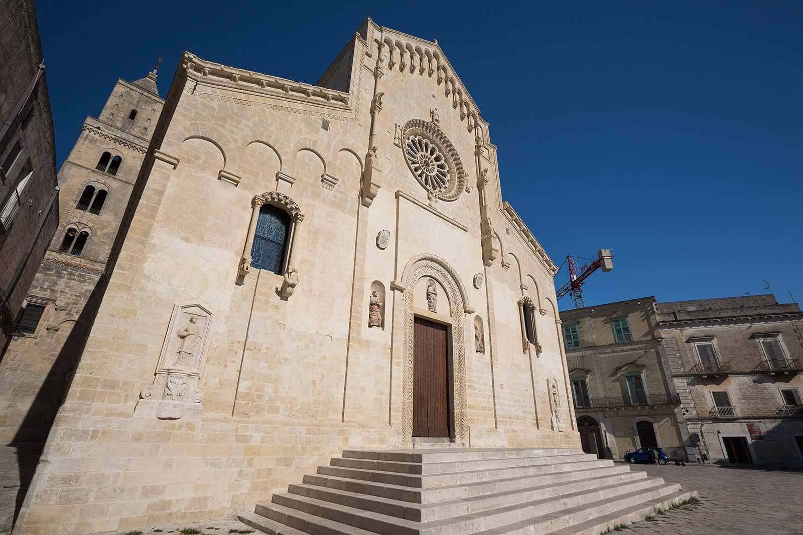 Matera Cathedral is located on the highest point of Sassi di Matera and it's tower is the landmark of the city.