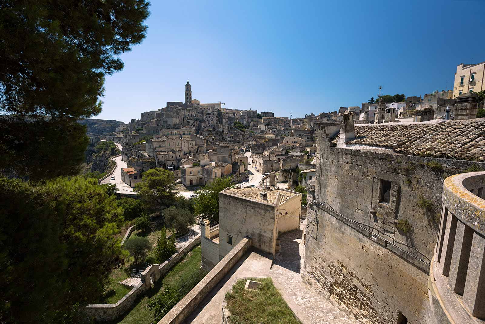 This is the view of Sassi di Matera from Church of San Agostino. It'S the most iconic image of the city.