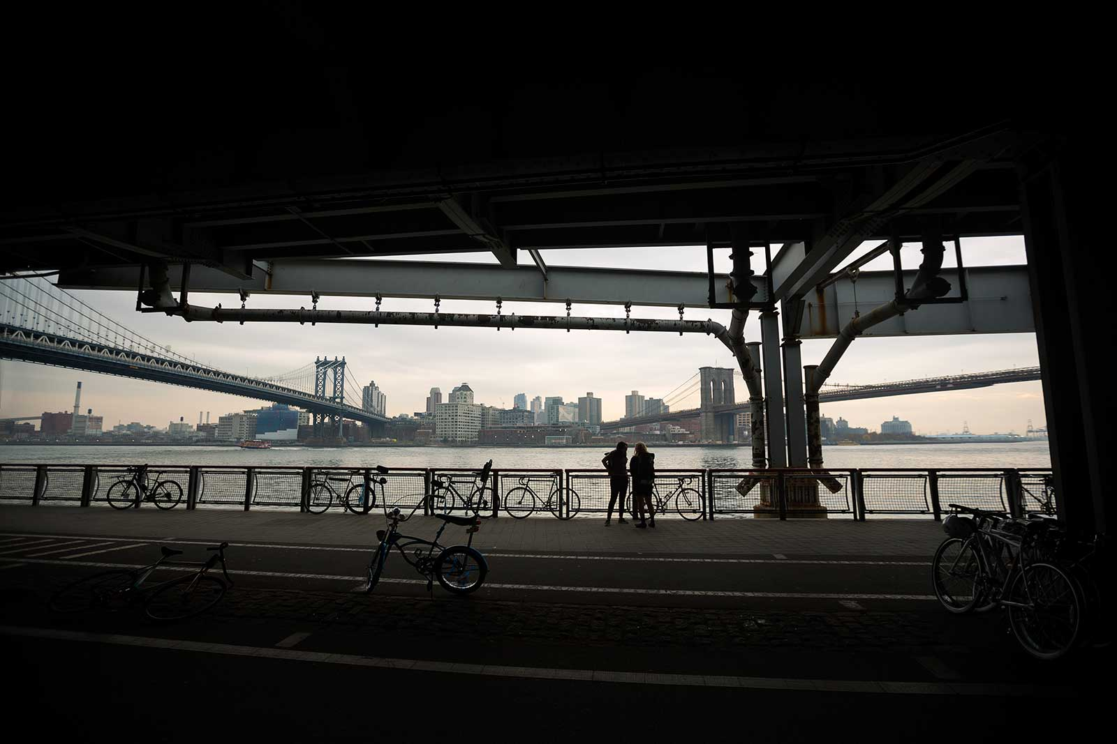Walking from one end of Manhatten Bridge to Brooklyn Bridge gives you an amazing view of both of them.
