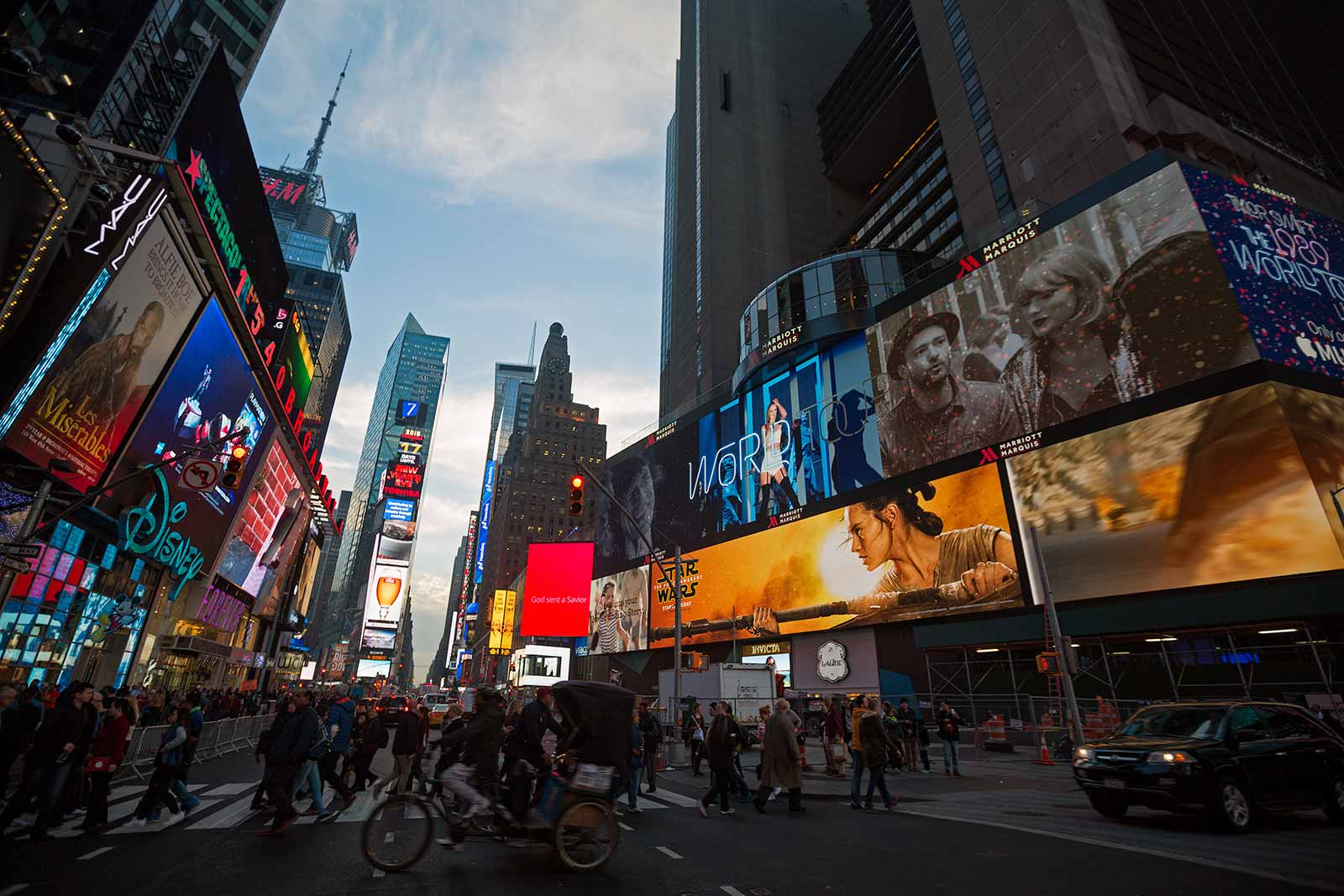 """Times Square is one of the most visited tourist destinations in the world and is sometimes referred to as """"The Crossroads of the World"""". If you forget about the road blocks, armed police officers and the 330.000 people crossing every day, I could start to like this spot after all."""