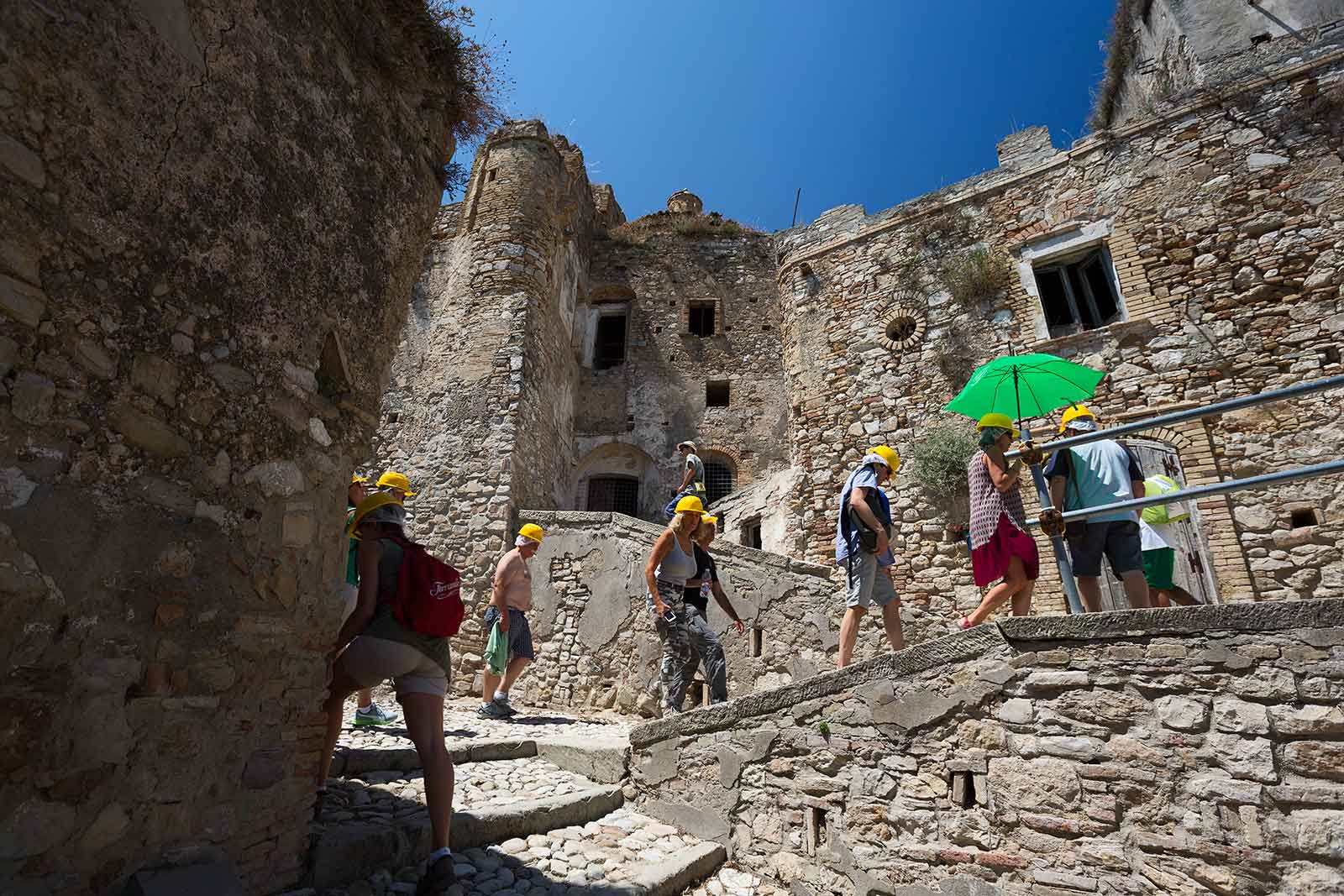 Not only do you need a guide to explore Craco, but you'll also need to wear a hard hat.