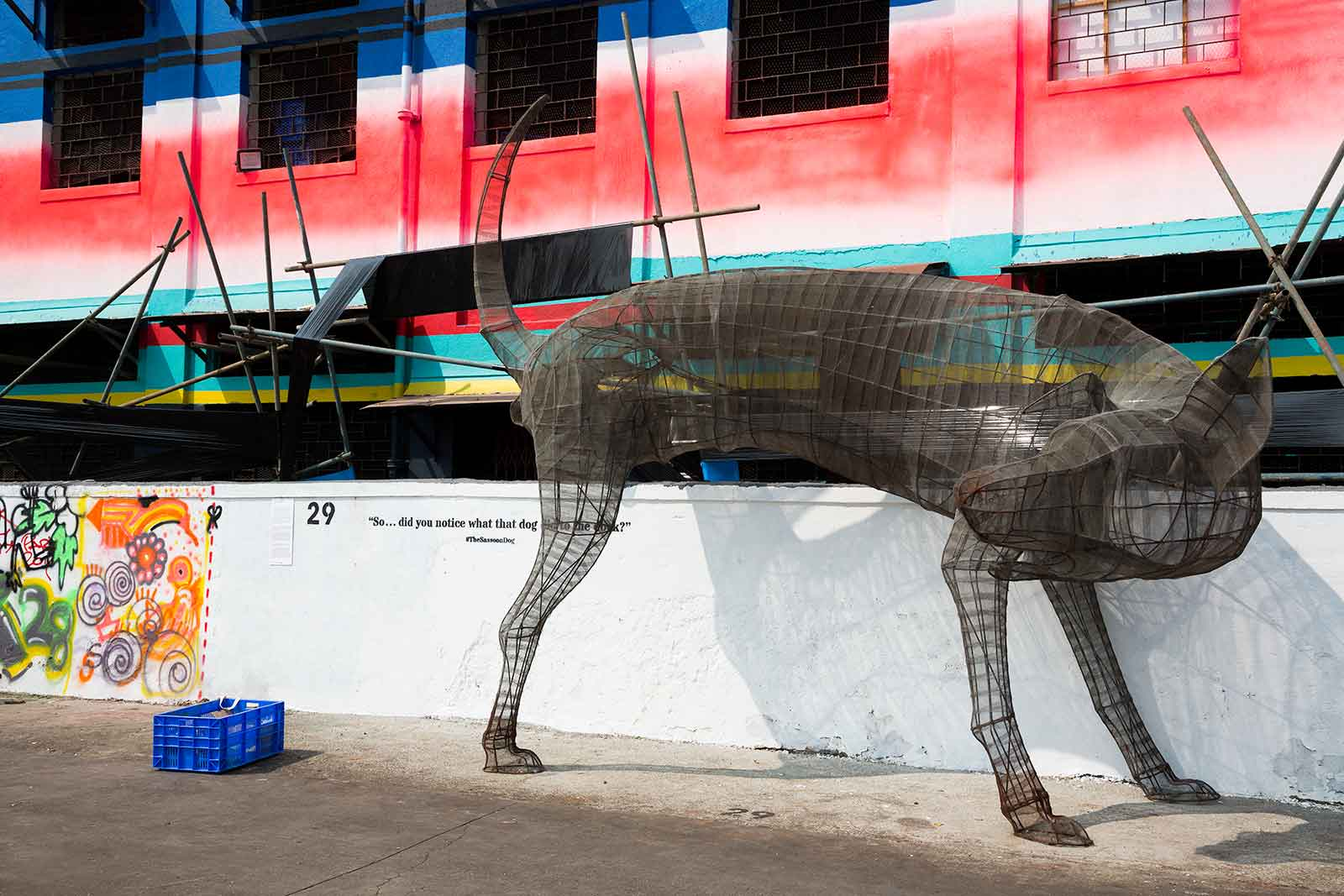 The Sassoon Dog is hard to miss when walking along the Sassoon Docks in Mumbai.