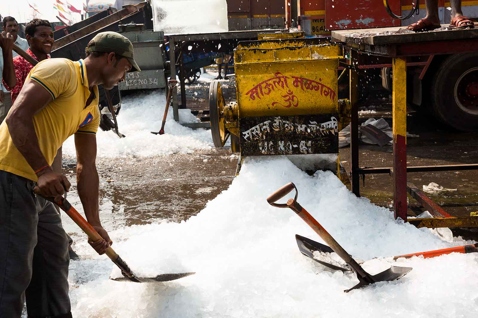 Where there's fresh fish, there needs to be crushed ice. While fish is unloaded off the boats, tons of ice is crushed to keep the fish fresh at the Sassoon Docks.