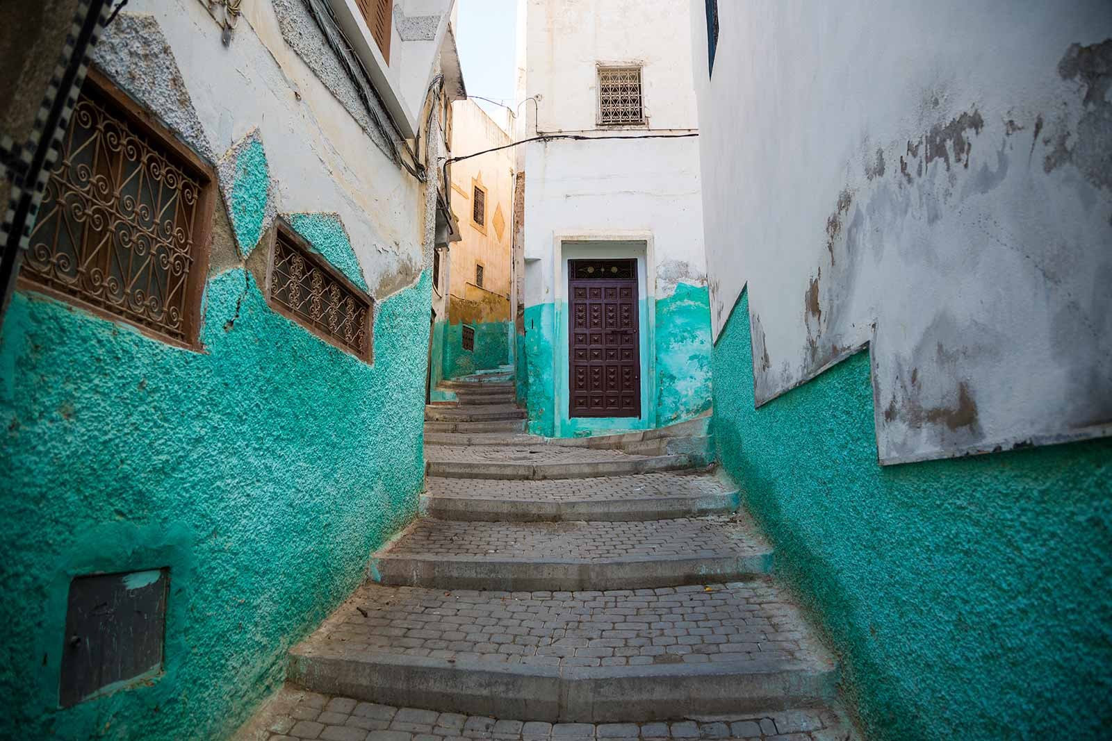The colourful streets of Moulay Idriss seem like another Chefchaouen, but instead of blue, cyan is the main colour in use here.