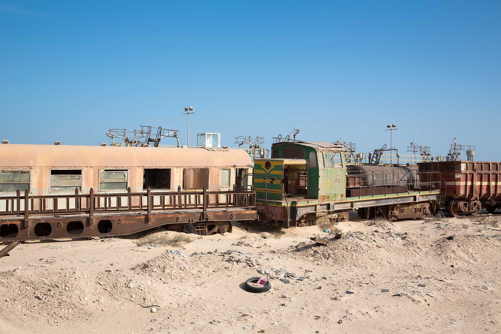 Wrecks are a normal sight when riding through Mauritania on the Iron Ore Train.