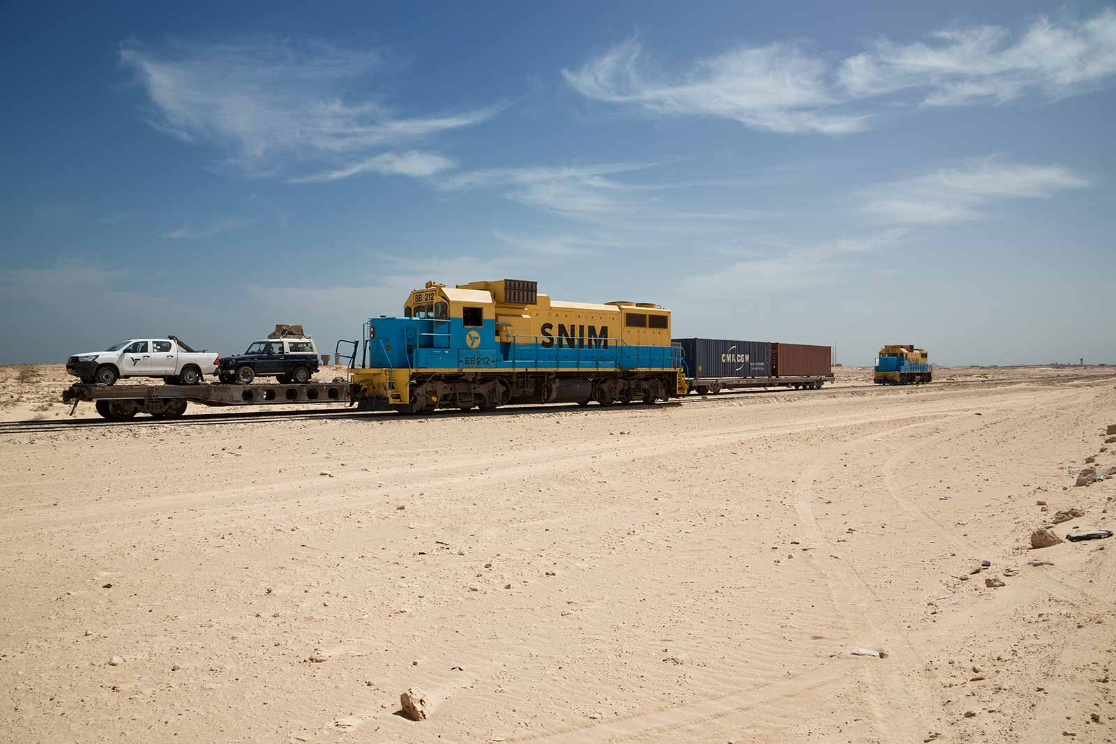 The Iron Ore Train fills its 2.5 km of wagons (which is the second longest on earth) with the iron ore and then heads back to the coastal city of Nouadhibou.